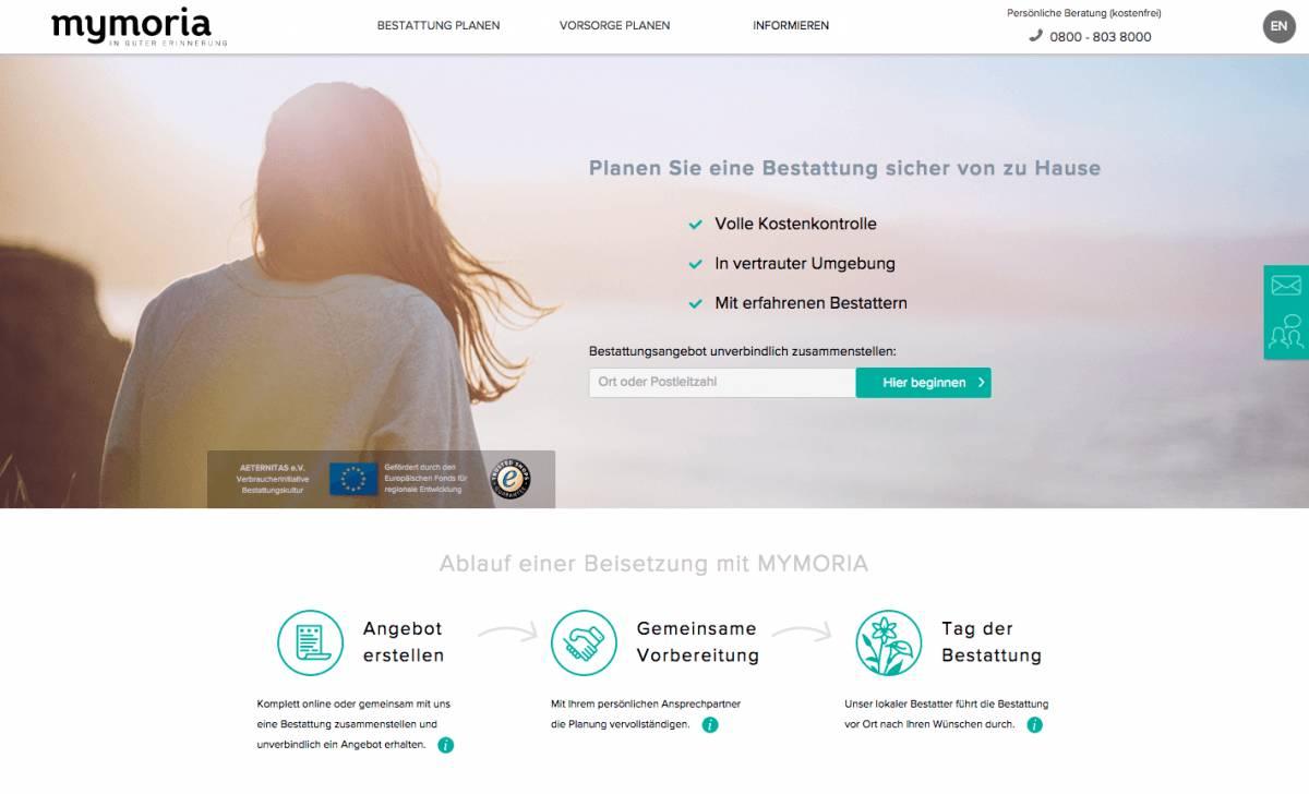 Screenshot Mymoria Homepage