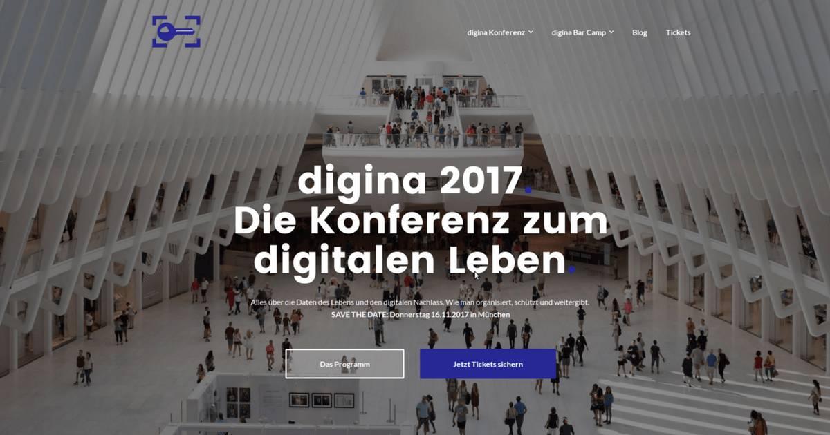 Digina 2017: Die Website