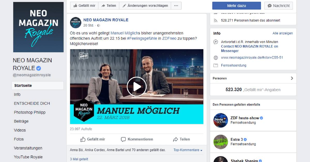Screenshot Facebook. Neo Magazin Royale #feelingsgefühle - Manuel Möglich spielt Rest in Tweets