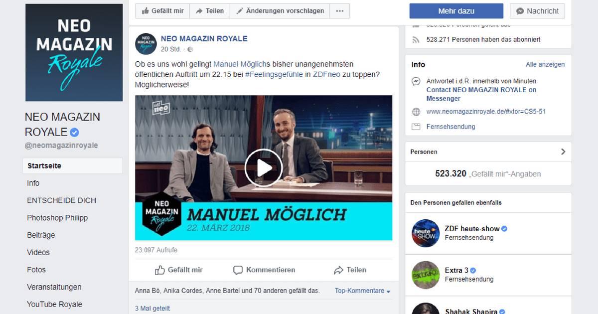 Screenshot Facebook. Neo Magazin Royale #feelingsgefühle - Manuel Möglich spielt Rest in Tweets