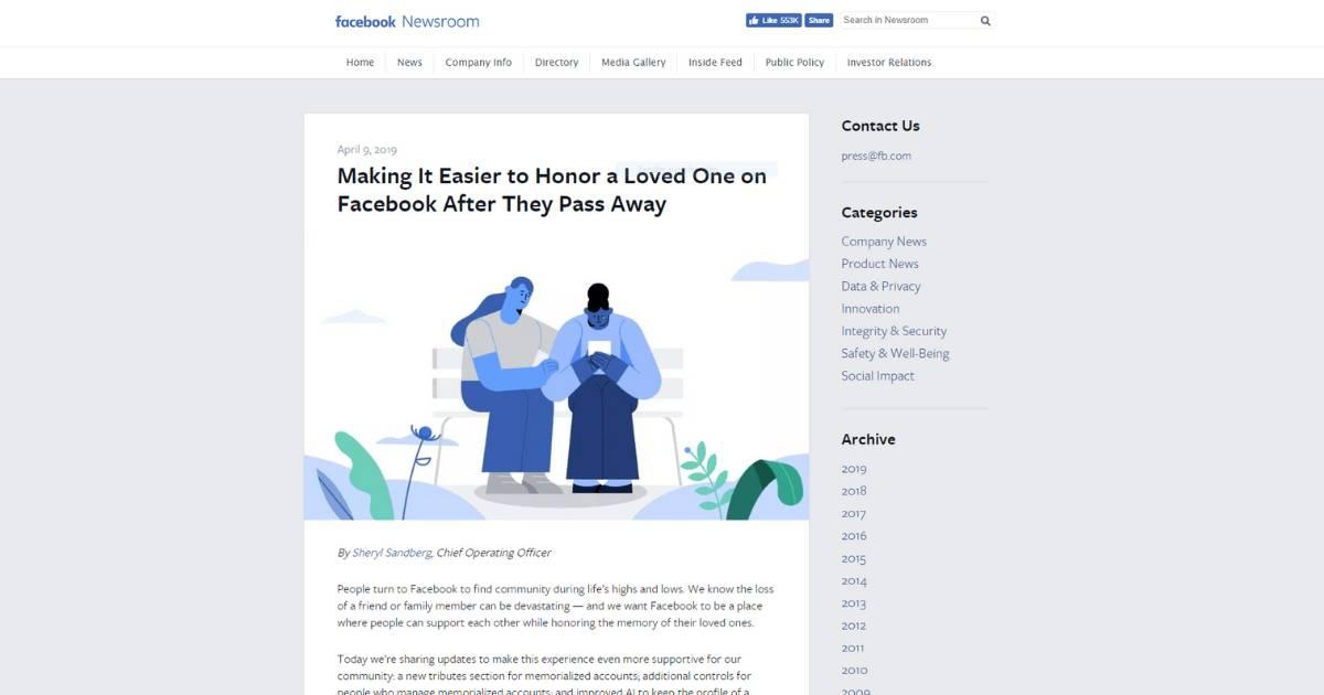 Neue Nachlass-Funktionen bei Facebook: Screenshot News-Sektion