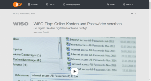 Digitaler Nachlass bei ZDF WISO
