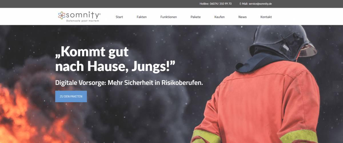 Beitragsbild: Screenshot Homepage Somnity