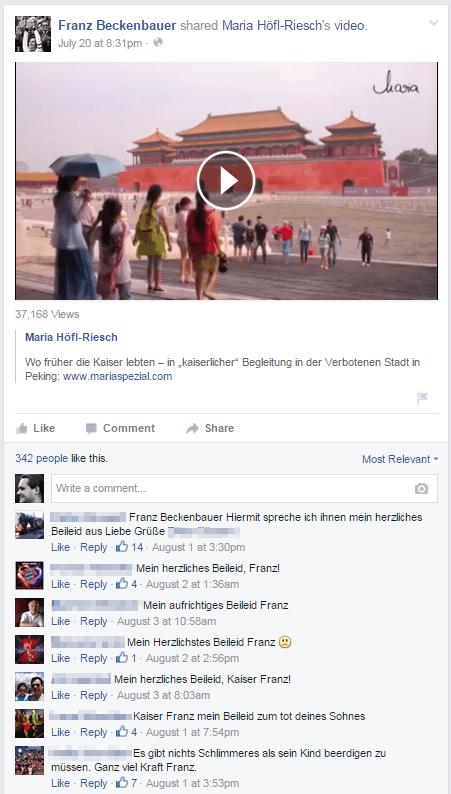 Screenshot eines Facebook-Posts von Franz Beckenbauer