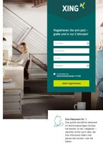 Screenshot Startseite XING