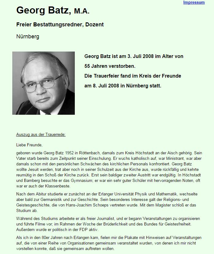 Screenshot Gedenkseite Georg Batz