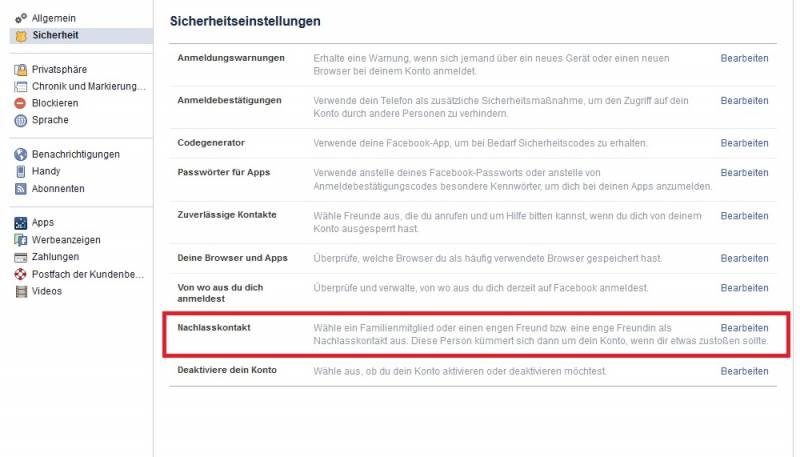 Screenshot der Facebook-Einstellungen