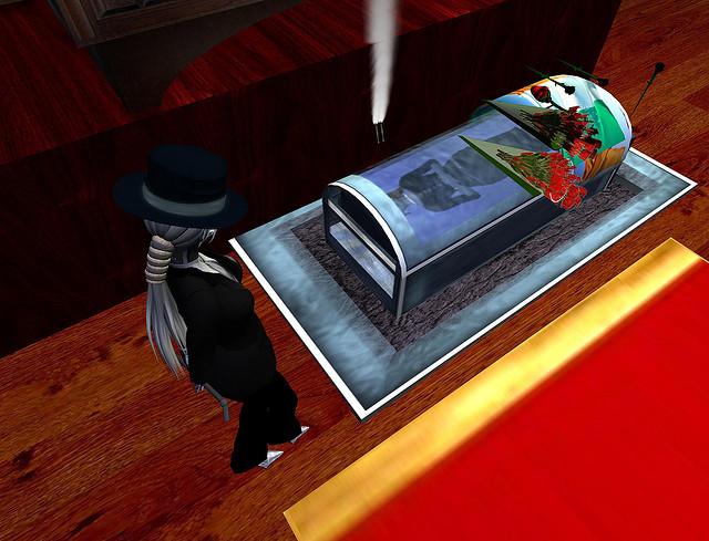 Szenenbild aus Second Life, das einen Sarg zeigt - Beispiel für den Tod in virtuellen Welten