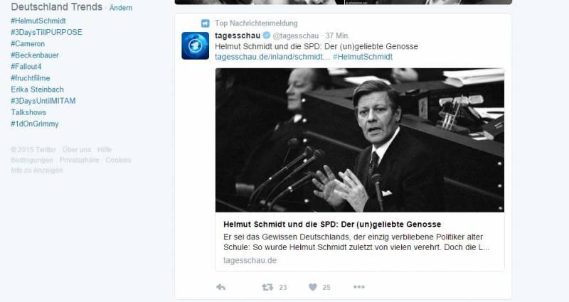 Zum Todesfall trendet der Helmut Schmidt-Hashtag