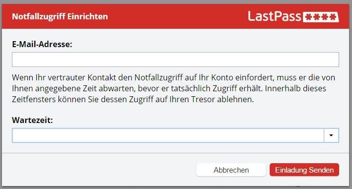 LastPass-Dialog Notfallzugriff