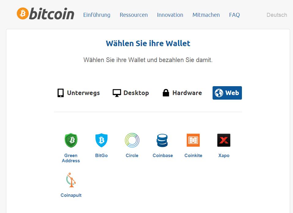Bitcoin.org bietet einen Überblick über gängige Wallets, darunter auch Web-Services.