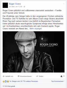 Facebook-Post zu Roger Ciceros Tod.