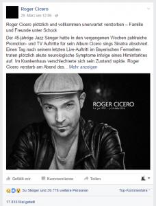 Facebook-Post zu Roger Ciceros Tod.