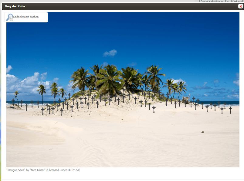 Beispielabbildung: Virtuelle Gedenkstätten können bei strassederbesten.de auf einem von 12 verschiedenen Landschaftsmotiven platziert werden.