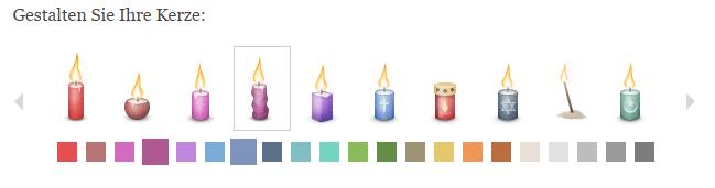 Gedenkseiten.de bietet seinen Nutzern die Möglichkeit, zwischen verschiedenen Kerzenformen und -farben auszuwählen - hier werden einige gezeigt.