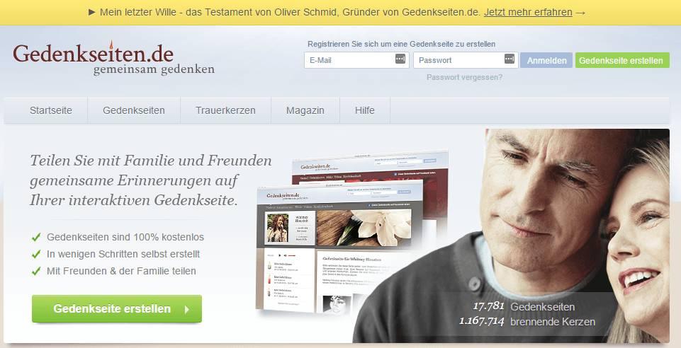 Startseite des Portals Gedenkseiten.de