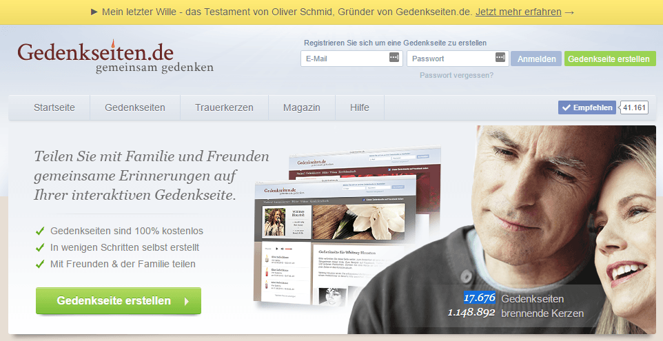 Abbildung der Startseite Gedenkseiten.de