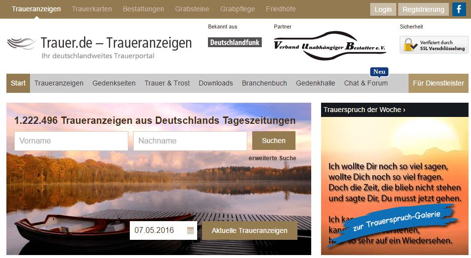 Abbildung der Startseite des Gedenkseitenportals Trauer.de