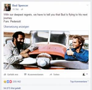 FB-Posting zu Bud Spencers Tod.