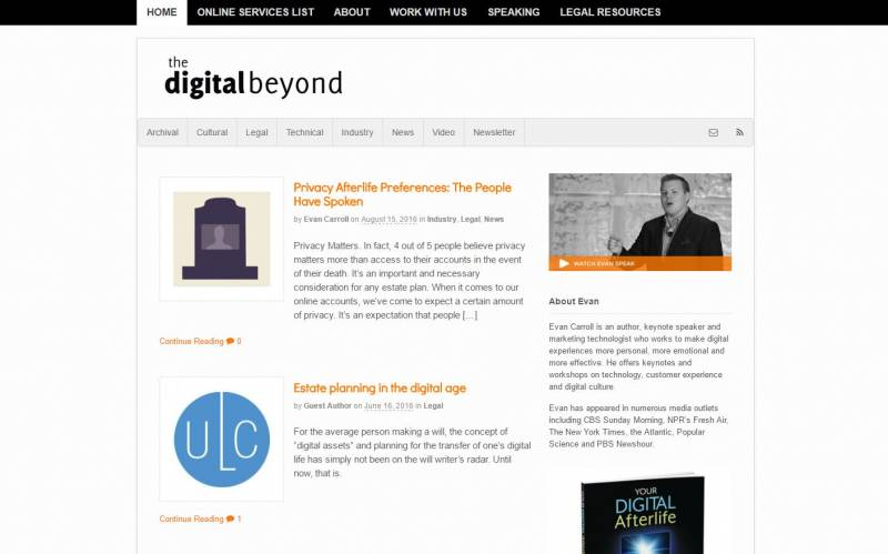 Screenshot: The Digital Beyond