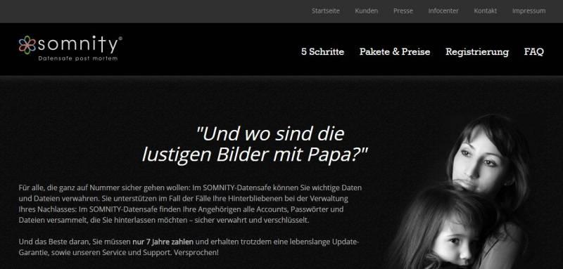 Abb.: Homepage - Startbildschirm Somnity